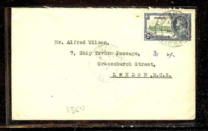 NIGERIA (P1012B) SILVER JUBILEE 2D SINGLE FRANK FROM CALABAR TO LONDON