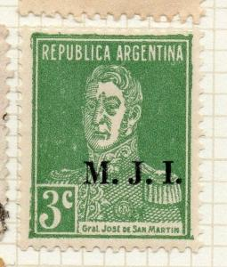 Argentina 1931-36 Early Official MJI Optd Issue Fine Mint Hinged 3c. 188483