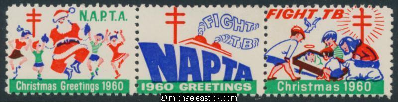 1960 strip of 3, Fight TB, NAPTA, Christmas Greetings seal