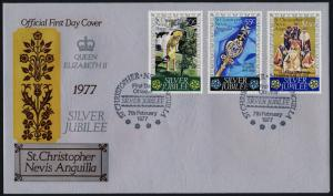 St Christopher Nevis & Anguilla 332-4 on FDC - Queen Elizabeth Silver Jubilee
