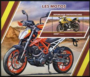 CENTRAL AFRICA 2017  MOTORCYCLES SOUVENIR SHEET MINT NH