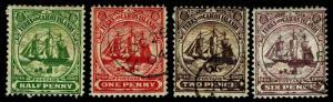 1900-04 Turks & Caicos Islands #1-3 & 6 - Mostly Used - VF - CV$12.75 (ESP#3352)
