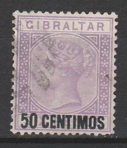 GIBRALTAR 1889 QV 50 CENTIMOS OVERPRINT USED