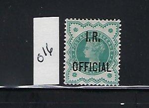 GREAT BRITAIN SCOTT #O16 1901  I.R. OFFICIAL 1/2P (BLUE GREEN ) - MINT LIGHT H