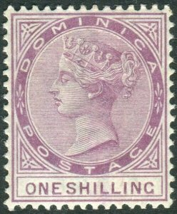 DOMINICA-1890 1/- Dull Magenta.  A mounted mint example Sg 26