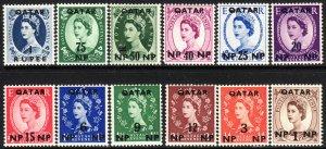 1957 Qatar QE Queen Elizabeth O/P short set (12)  MVLH Sc# 1 / 12 CV: $20.35