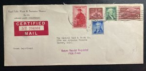 1958 Grand Lake CO USA Sanitation District Certified Mail Cover To Denver Co