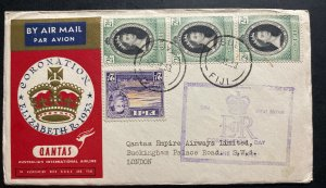 1953 Suva Fiji First Day Cover FDC Queen Elizabeth 2 Coronation To England