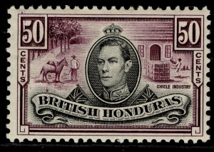 BRITISH HONDURAS GVI SG158, 50c black & purple, LH MINT. Cat £40.