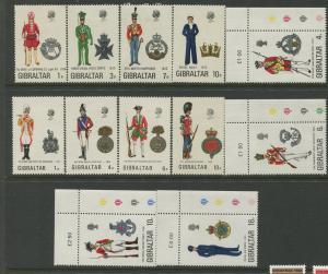 Gibraltar #286-289,299-302,310-313 MVLH  Scott CV. $20.00