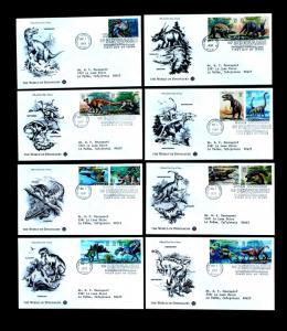 US Stamp Sc# 3136 a-o ARTCRAFT 8 FDCs Dinosaurs