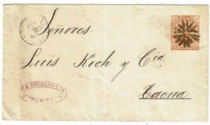Bolivia 1889 Tupiza cancel on stationery envelope to Chile