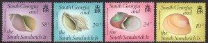 1988 South Georgia Sea Shells complete set MNH Sc# 127 / 130 CV $5.90