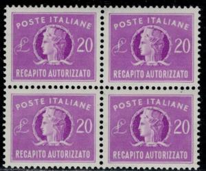 ITALY 1952 Authorized Delivery L.20 bloc of 4 wheel wmk well centered MNH B16238