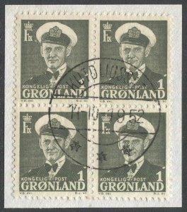 GREENLAND 1950 Sc 28 Used Block on piece, F-VF, Kutdligssat, Disko Island