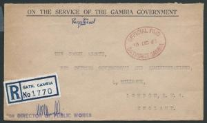 GAMBIA 1965 Registered OHMS cover Bathurst to London.......................46933