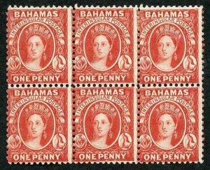 Bahamas SG40 1882 1d scarlet-vermilion wmk CA perf 12 block of 6