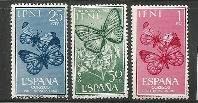 IFNI 111-113,  MNH,  BUTTERFLIES SET, ISSUED FOR CHILD WELFARE