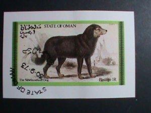 OMAN STAMP-1973- NEWFOUNDLAND BEAUTIFUL LOVELY DOG CTO -S/S SHEET VERY FINE