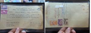 Singapore 30c + 5c on Document, 3 Sarawak stamps on back (38bel)