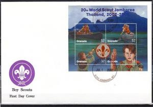 Grenada, Scott cat. 3265 A-D. Thailand Scout Jamboree sheet. First Day Cover.