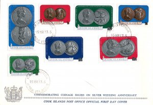 Cook Islands 339-345 Coins on Stamps U/A FDC