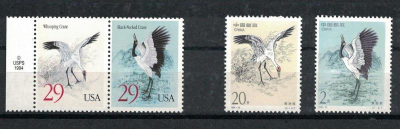 Scott 2867 - 2868 & PRC 2528 - 2529 - Cranes. Joint Set Of 4.  MNH OG.  #02 2867