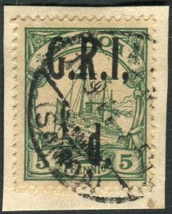 SAMOA-1914 ½d on 5pf Green COMMA AFTER I.  A fine used example on piece Sg 102