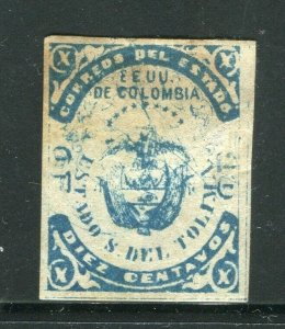 COLOMBIA TOLIMA 1860s classic Imperf issue Mint hinged 10c value