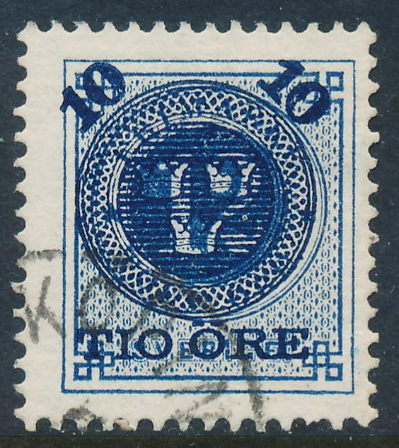 Sweden Scott 50 (Fa 50), 10/12ö blue Provisional, F+ Used