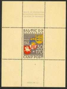 GERMANY 1946 Displaced Persons BALTIC CAMP Schongau Souvenir Sheet MVLH