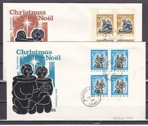 Canada, Scott cat. 488-489. Christmas issue. Blocks of 4. First day covers. ^