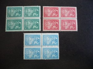 Stamps - Cuba - Scott# 407-409 - Mint Hinged Set of 3 Stamps in Blocks of 4