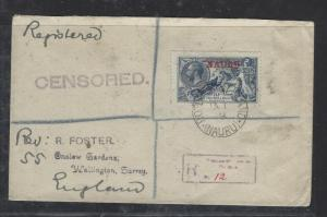 NAURU (P0110B) ON GB KGV SEA HORSES 2/6, 5/-/10/- COVERS 3, 2 HI VALUES CENSORED