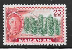 Sarawak 190: 25c Pepper vines, used, F-VF