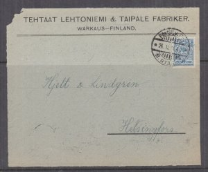 FINLAND, 1914 front, Russia 7k., Mail Guard, Warkaus to Helsinki,