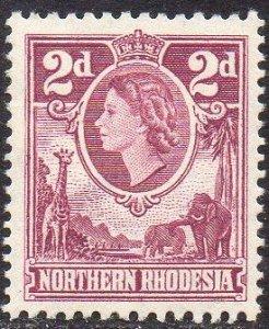 Northern Rhodesia 1953  2d reddish purple MH