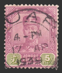MALAYA JOHORE 1904. SCOTT # 63. USED. # 2