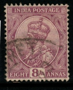 INDIA SG182 1911 8a PURPLE USED