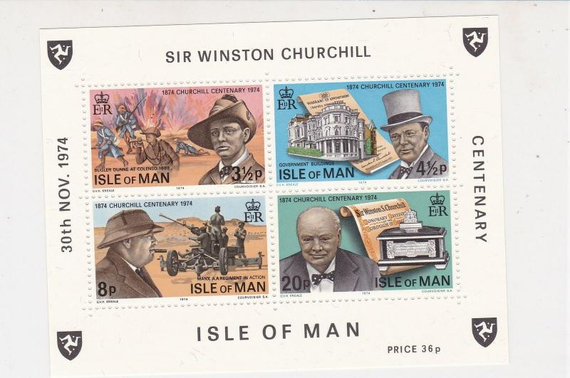 Isle of Man 1974 Centenary Birth Sir Winston Churchill MNH Stamps Sheet Ref27139