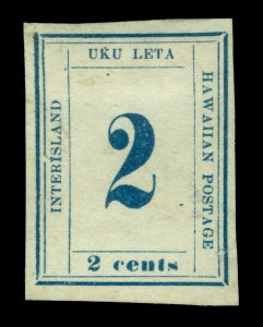 HAWAII 1865  Numerals  2c blue  Scott # 26  plate 10-A  Type V  pos.5  mint  MH