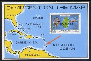 St Vincent 1980 'On the Map' m/sheet opt'd Specimen unmou...