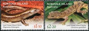 Norfolk Island 2021. Norfolk Island Lizards (MNH OG) Set of 2 stamps