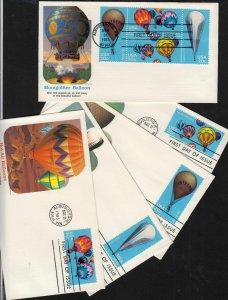 1983 Ballooning Sc 2032-35 2035a block & singles set of 5 Fleetwood