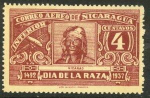 NICARAGUA 1937 4c NICARAO Airmail Variety GASH THROUGH Right Value Sc C216 MNGAI