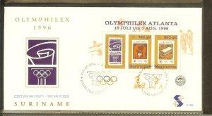 1996 - Rep. Surinam FDC E195 - Exhibitions - Philatelic exhibition - Olymphil...
