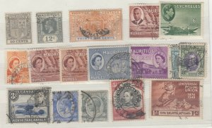 British Commonwealth KGV/KGVI/QEII Collection Of 17 To 5/-/10 Rupees FU JK3861
