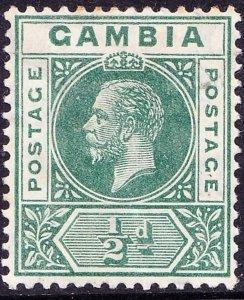 GAMBIA 1916KGV1/2d Pale GreenSG86aMH