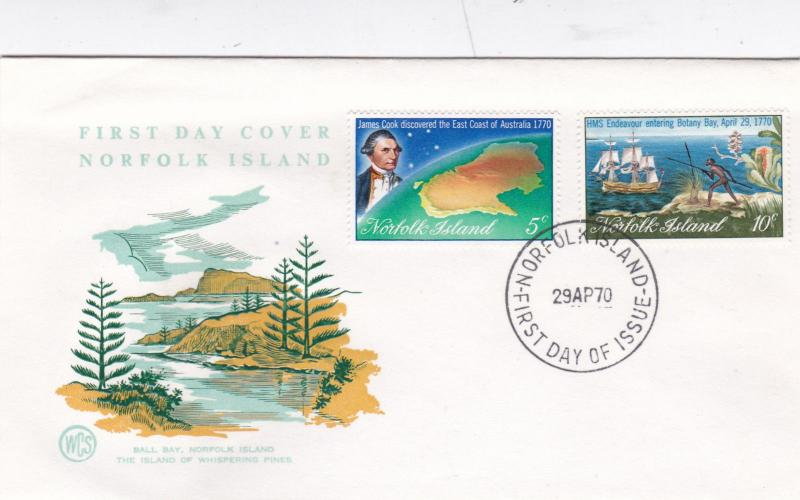 Norfolk Island 1970 James Cook Discovers Australia FDC Unadressed VGC