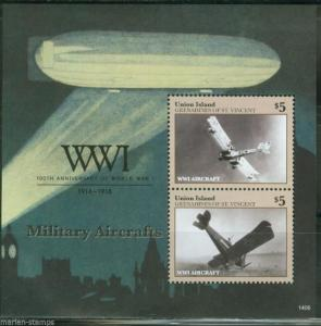 UNION ISLAND  2014  100th ANNIVERS OF WORLD WAR I  MILITARY AIRCRAFT S/S MINT NH